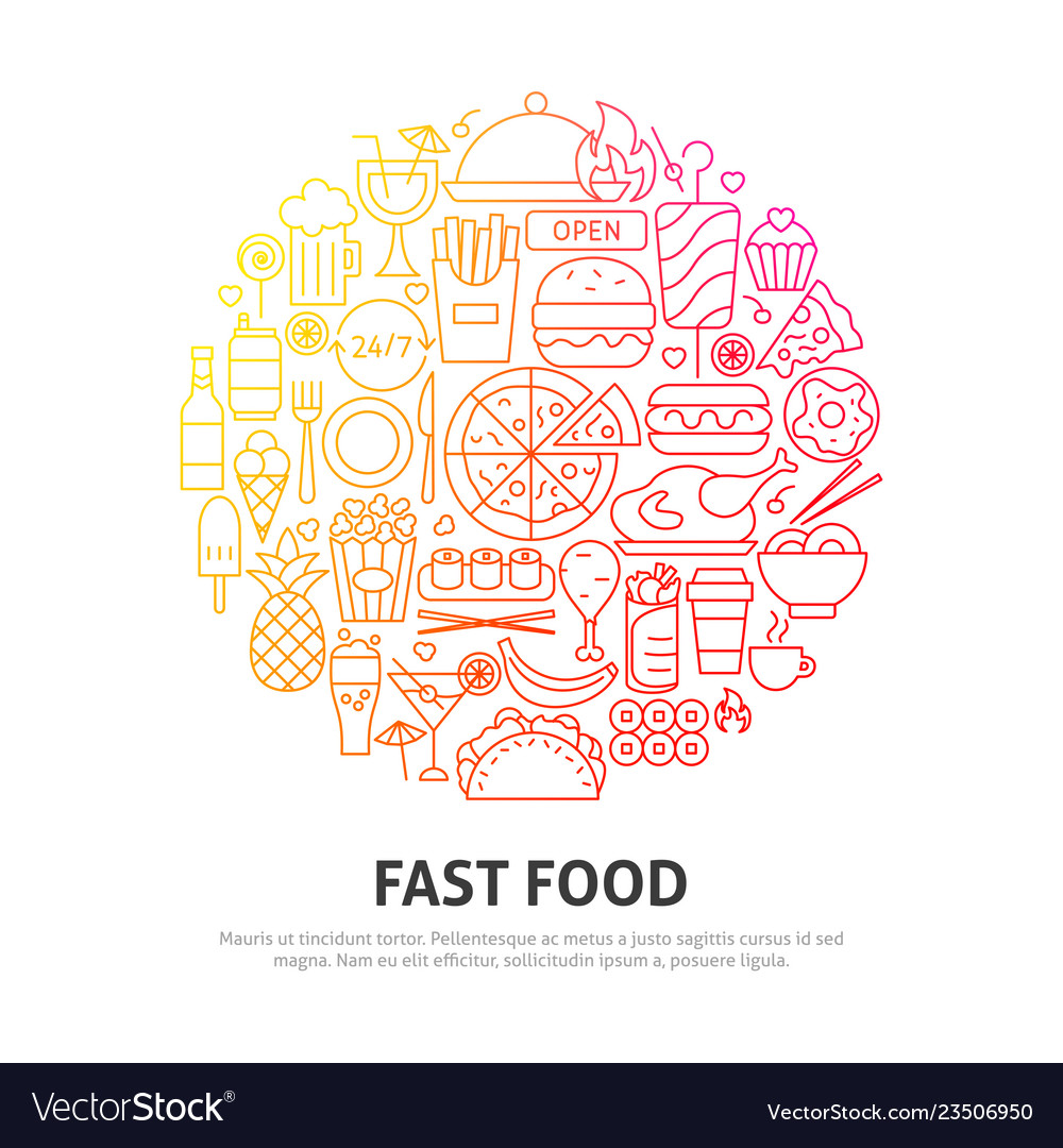 Fast food circle concept vector