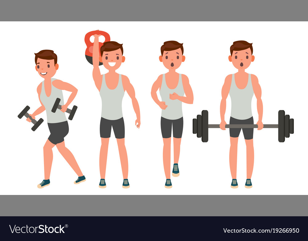 Fitness man different poses work out