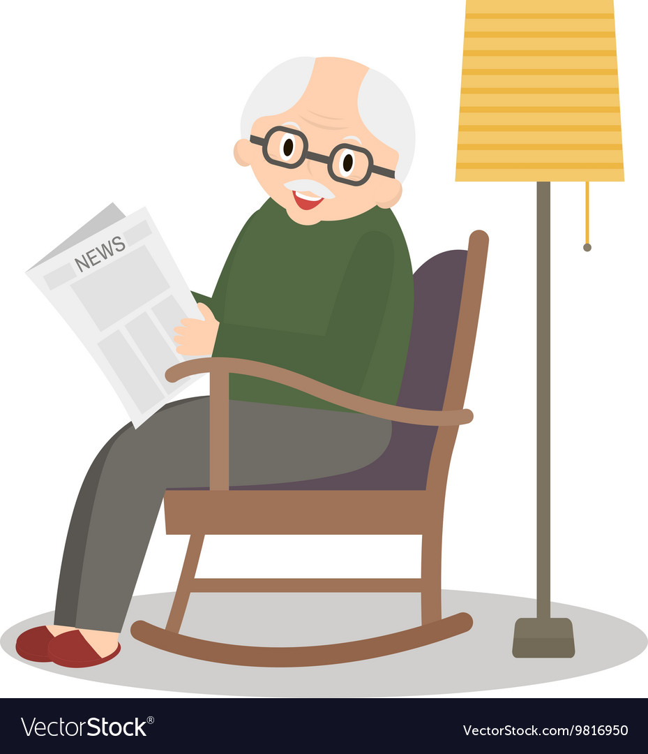 Grandfather sitting in rocking chair