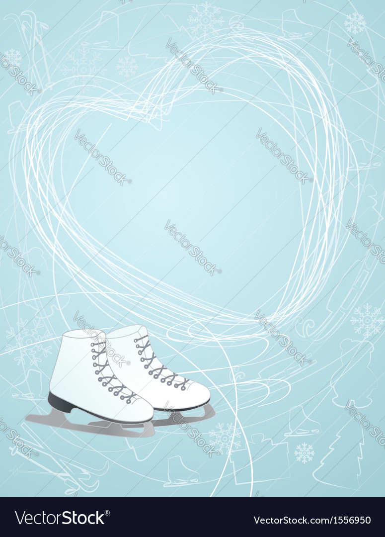 Ice skates with a heart symbol