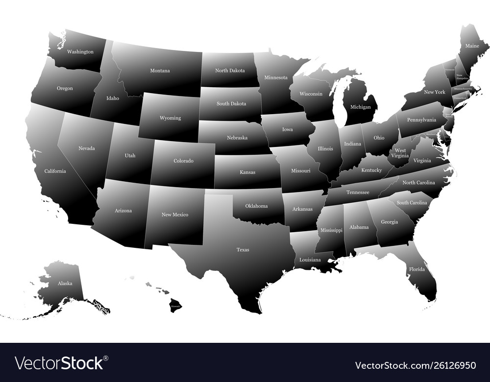 Map united states america with names