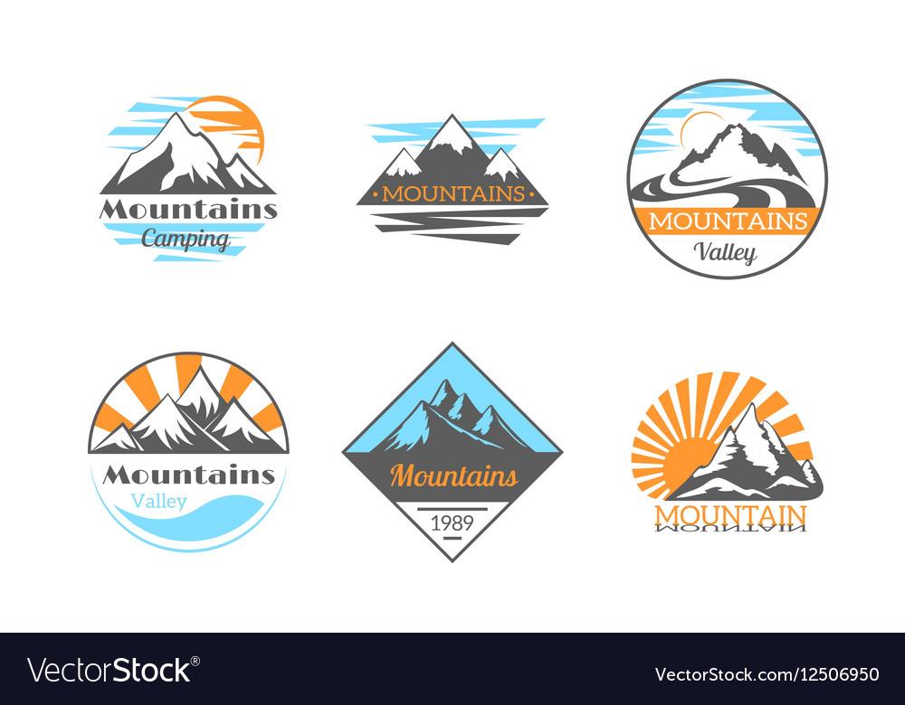 Mountains logo set Mountain rock outdoor camping