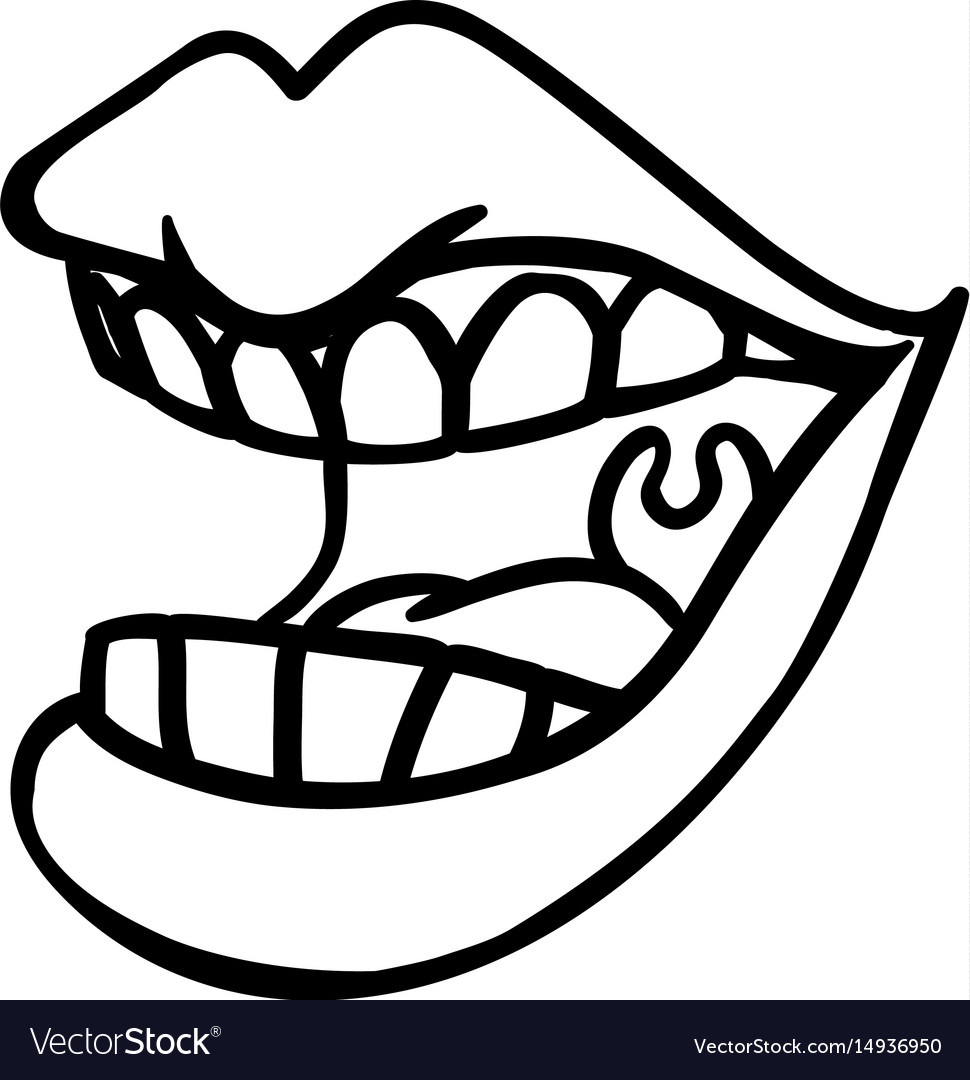 Mouth and lips cartoon vector image
