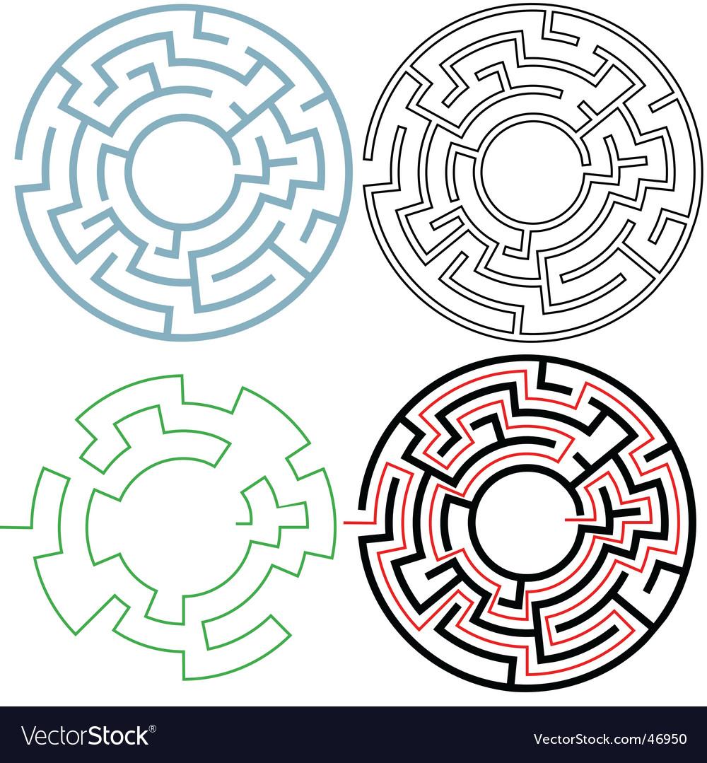 Radial circle maze vector image