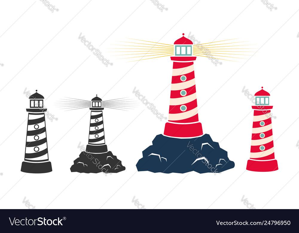 Set vintage icons a lighthouse