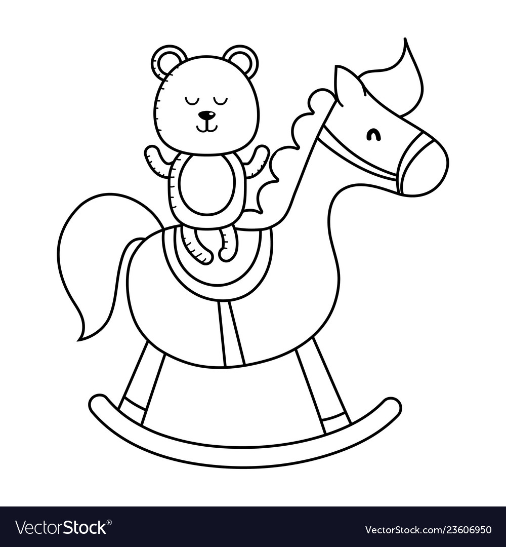 Teddy and wooden horse in black and white
