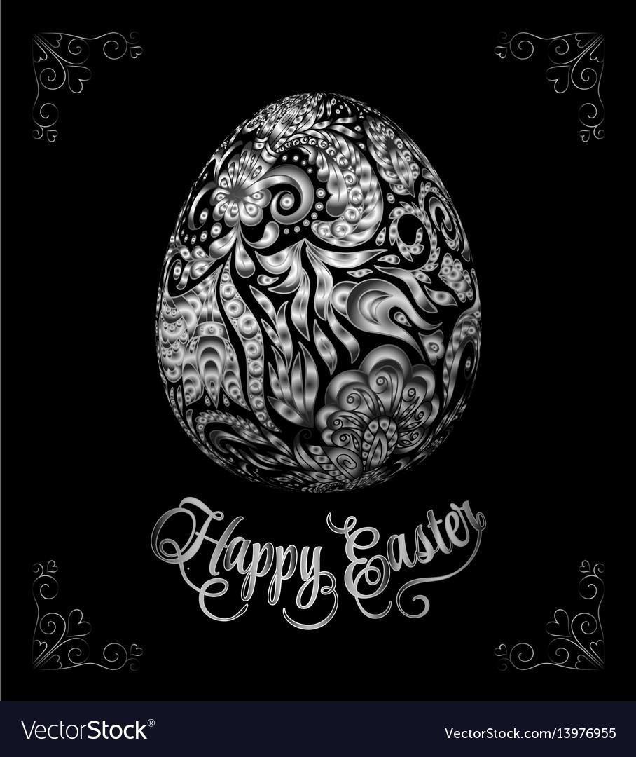 Abstract golden easter egg on black background