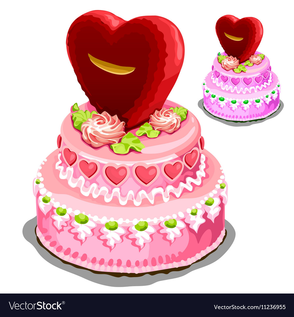 Beautiful pink cake with heart biscuits