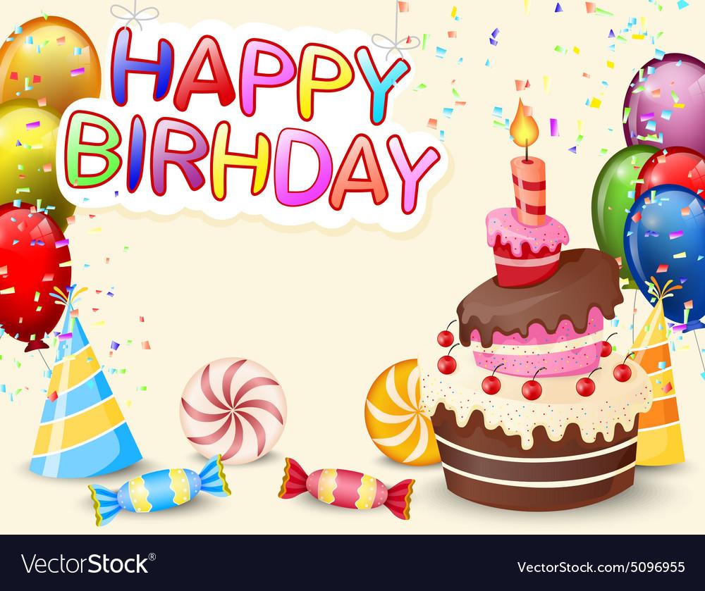 Birthday Background With Birthday Cake And Colorfu