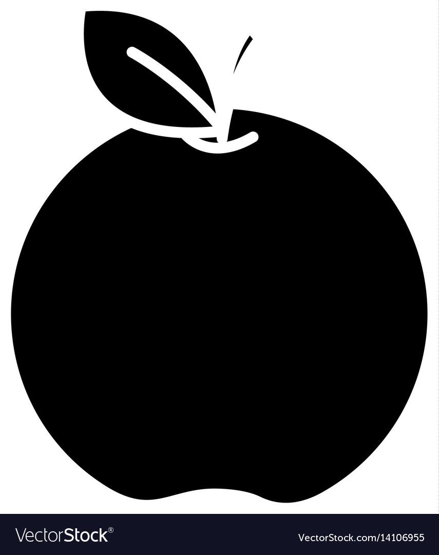 Black contour apple fruit icon stock vector image