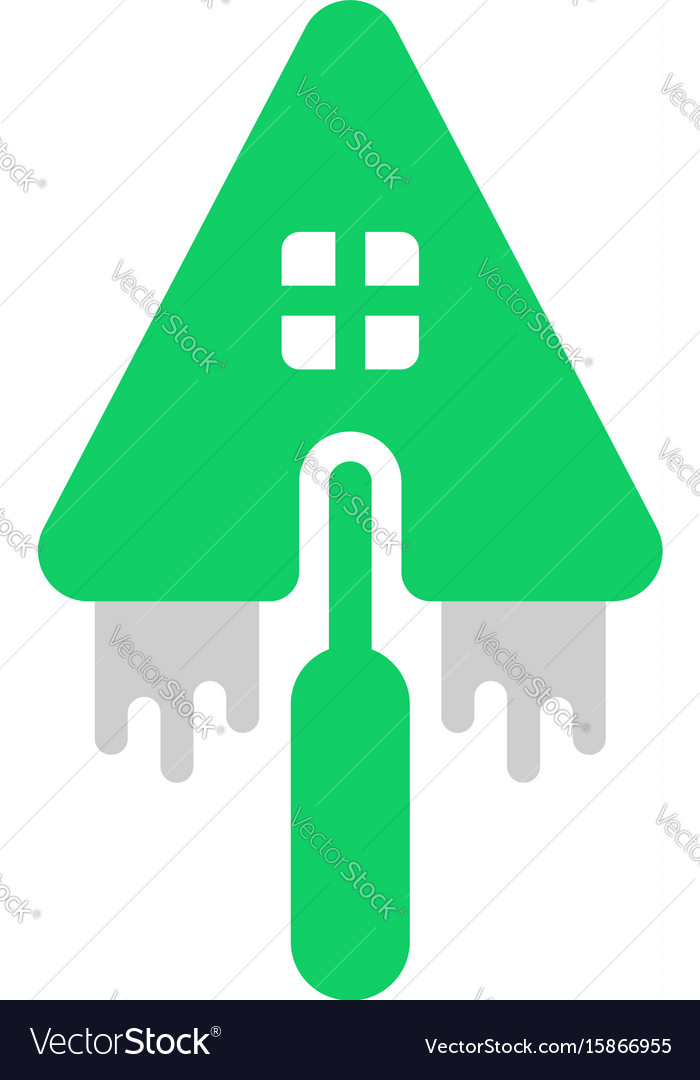 Building house logo with trowel vector image