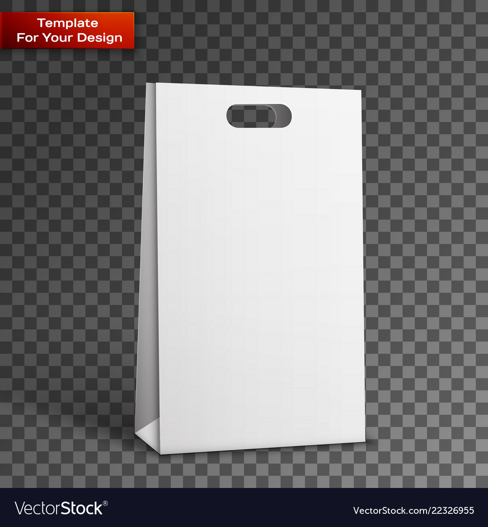 Carrier paper bag white isolated