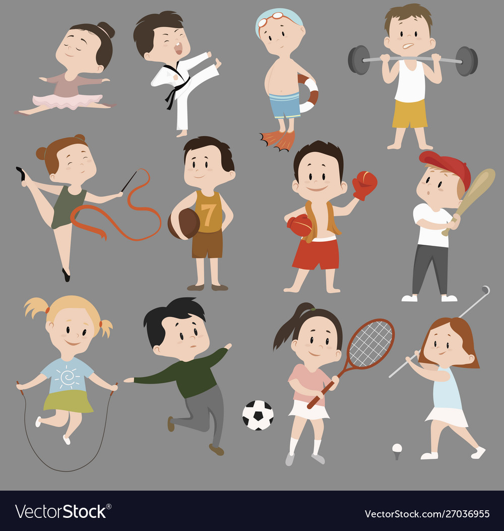 Cartoon set children in sports training