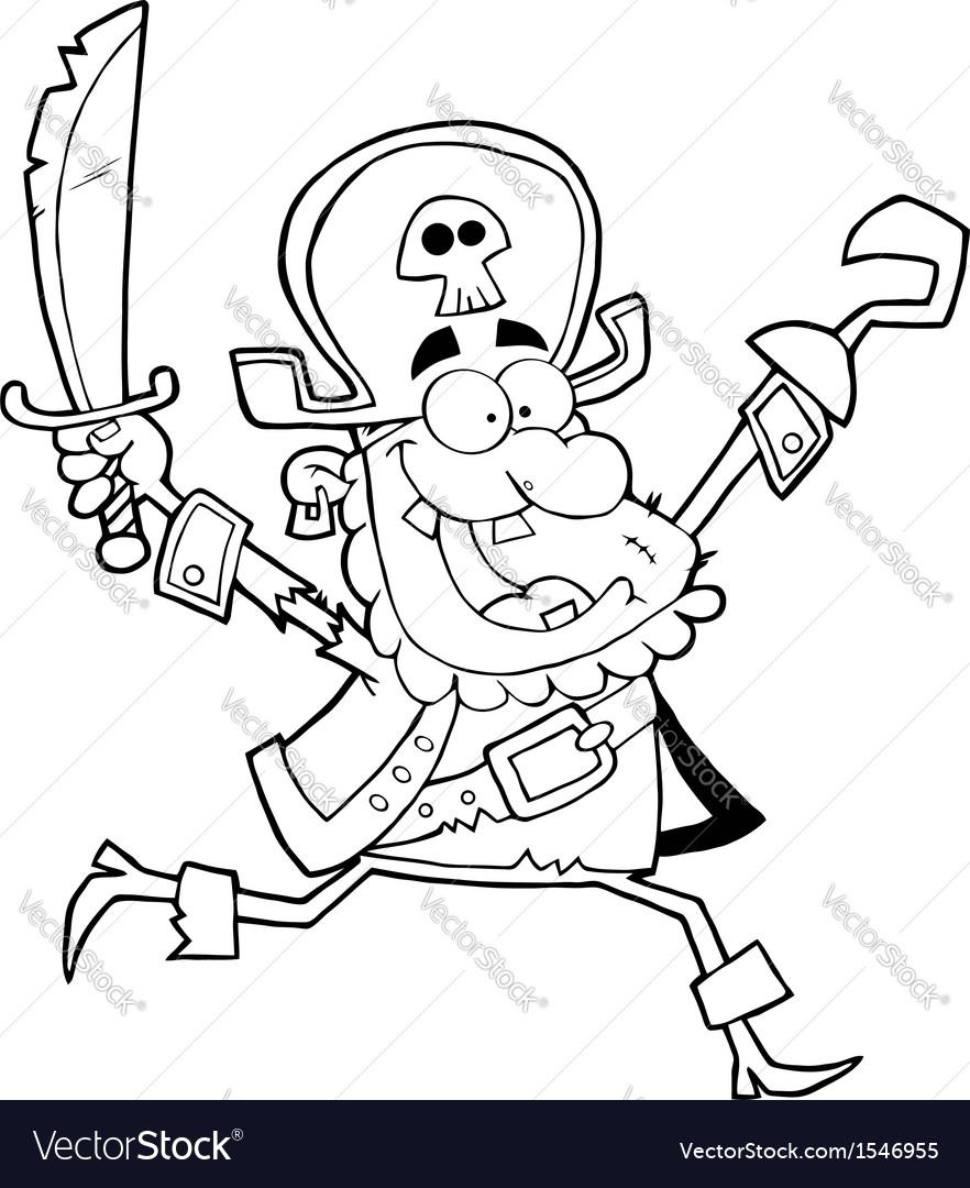 Happy running pirate vector image