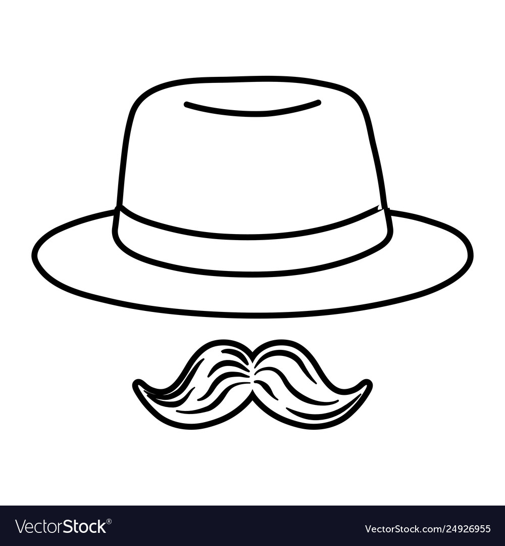 Hat And Moustache Black And White Royalty Free Vector Image