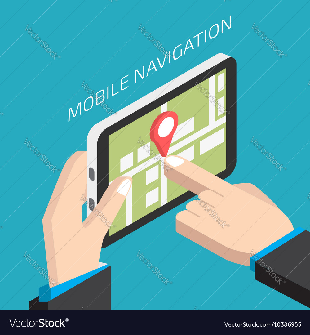 Isometric GPS mobile navigation with tablet Man
