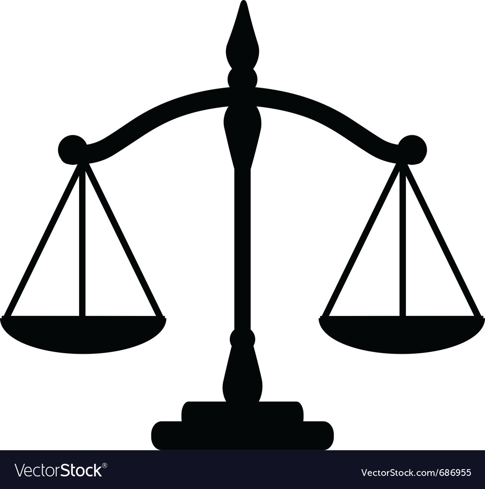 justice scales royalty free vector image vectorstock rh vectorstock com scales of justice vector logo scales of justice vector free