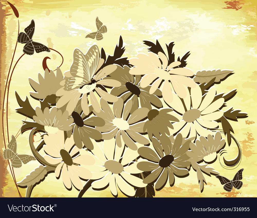 Old paper with daisies vector image