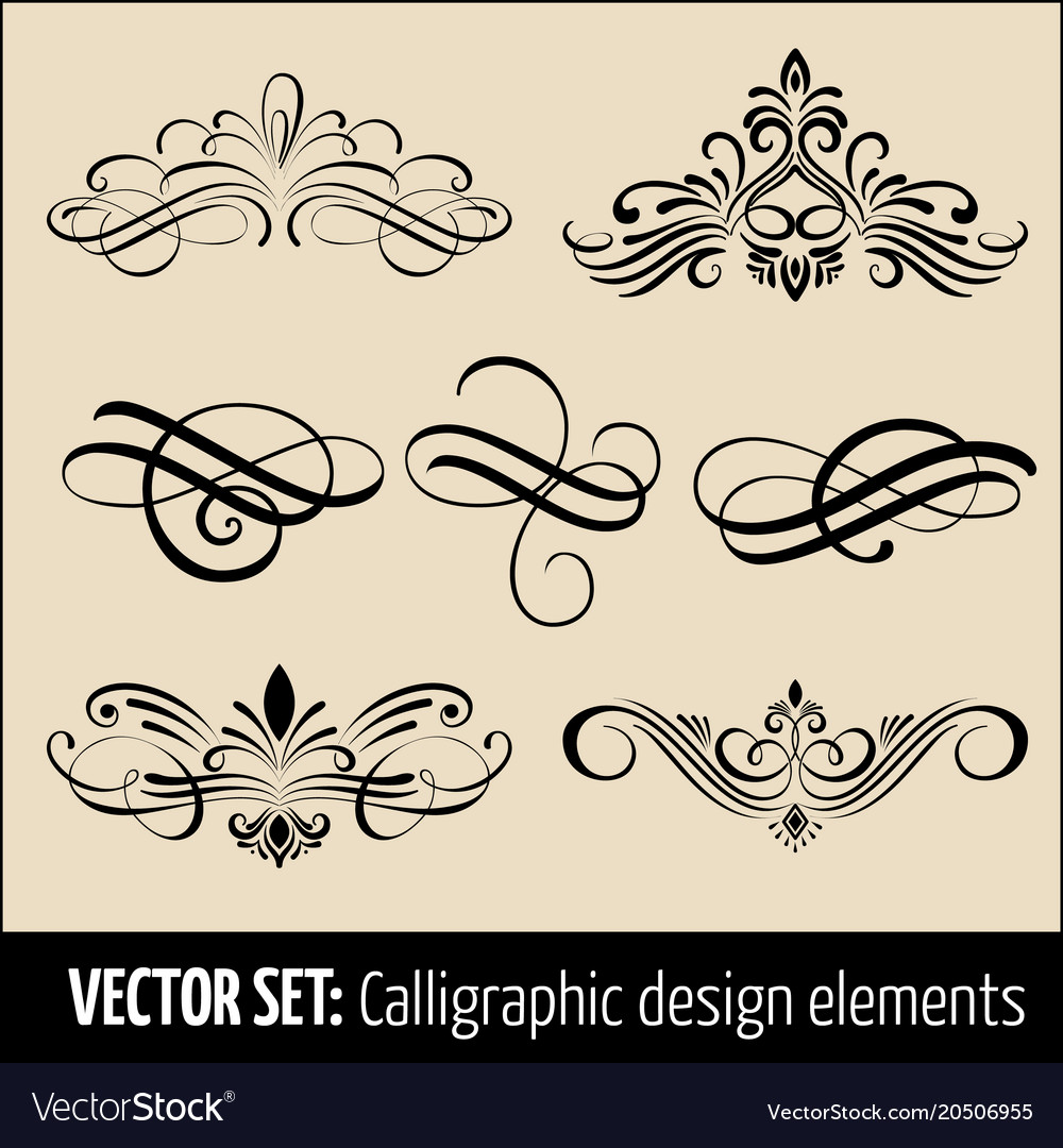 Set of calligraphic and page decoration