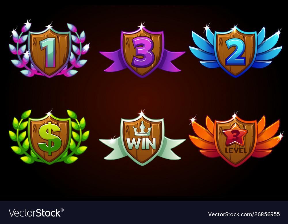 Shield set awards or icons awards 1st