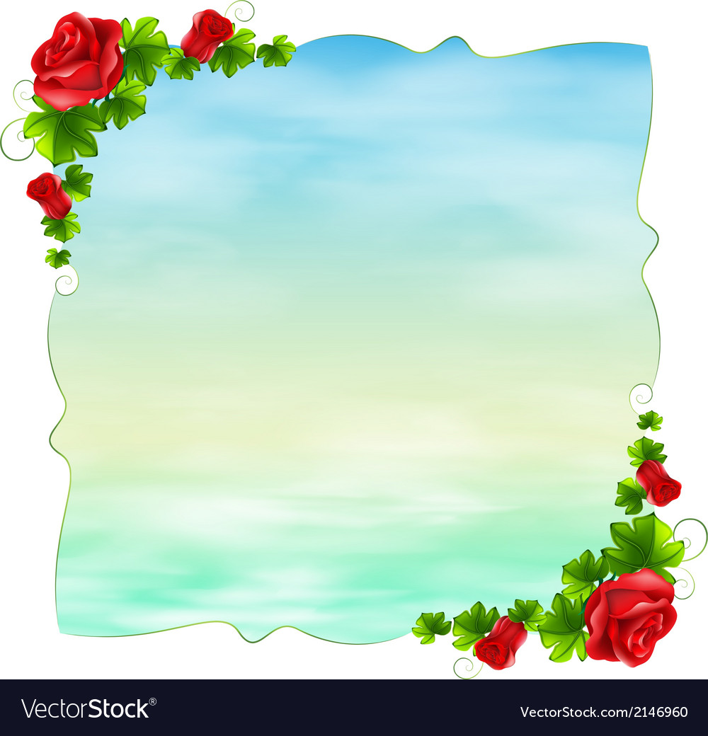 An empty template with red roses
