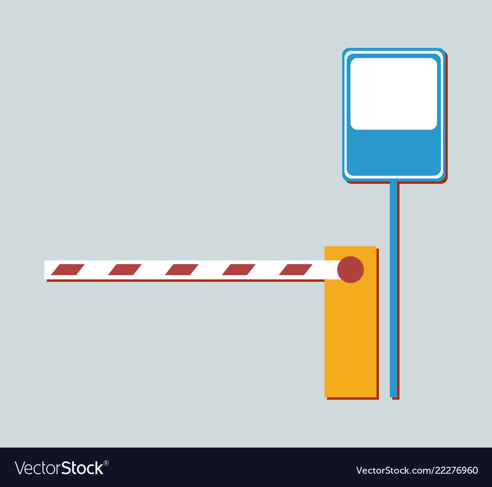 Barrier not aallowing to enter and metal road sign