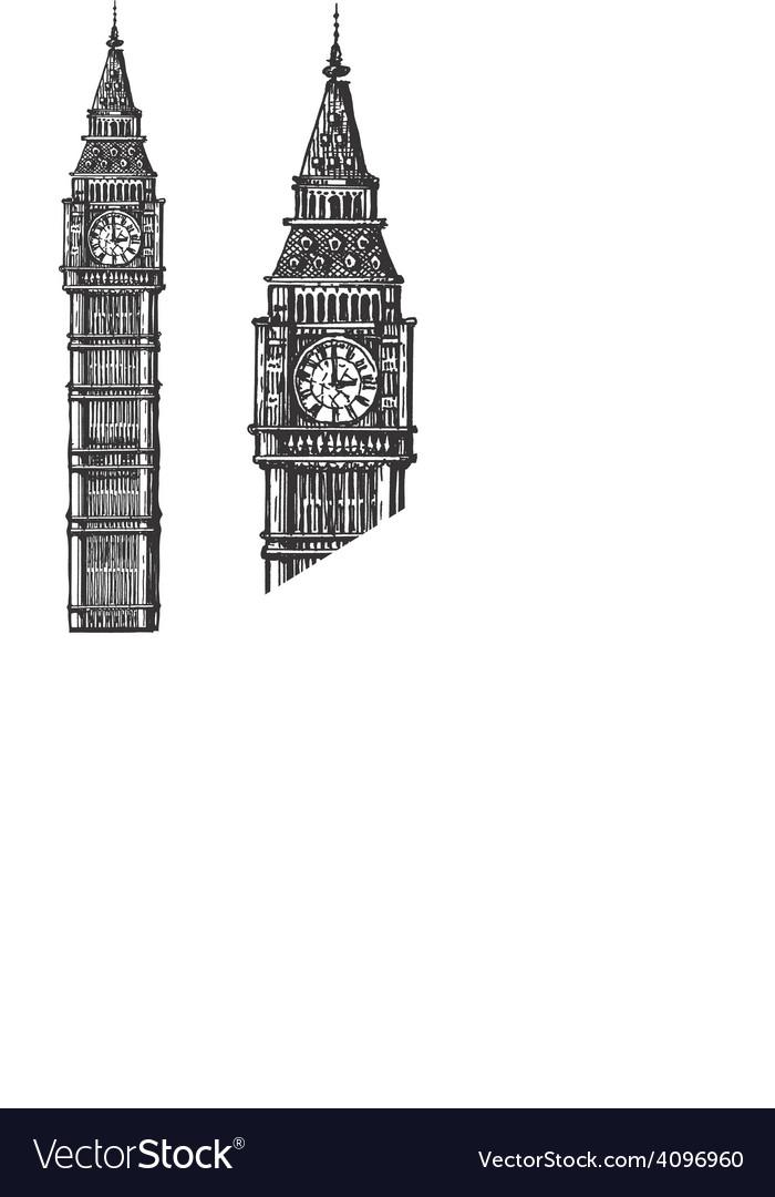 Big Ben logo design template England or vector image