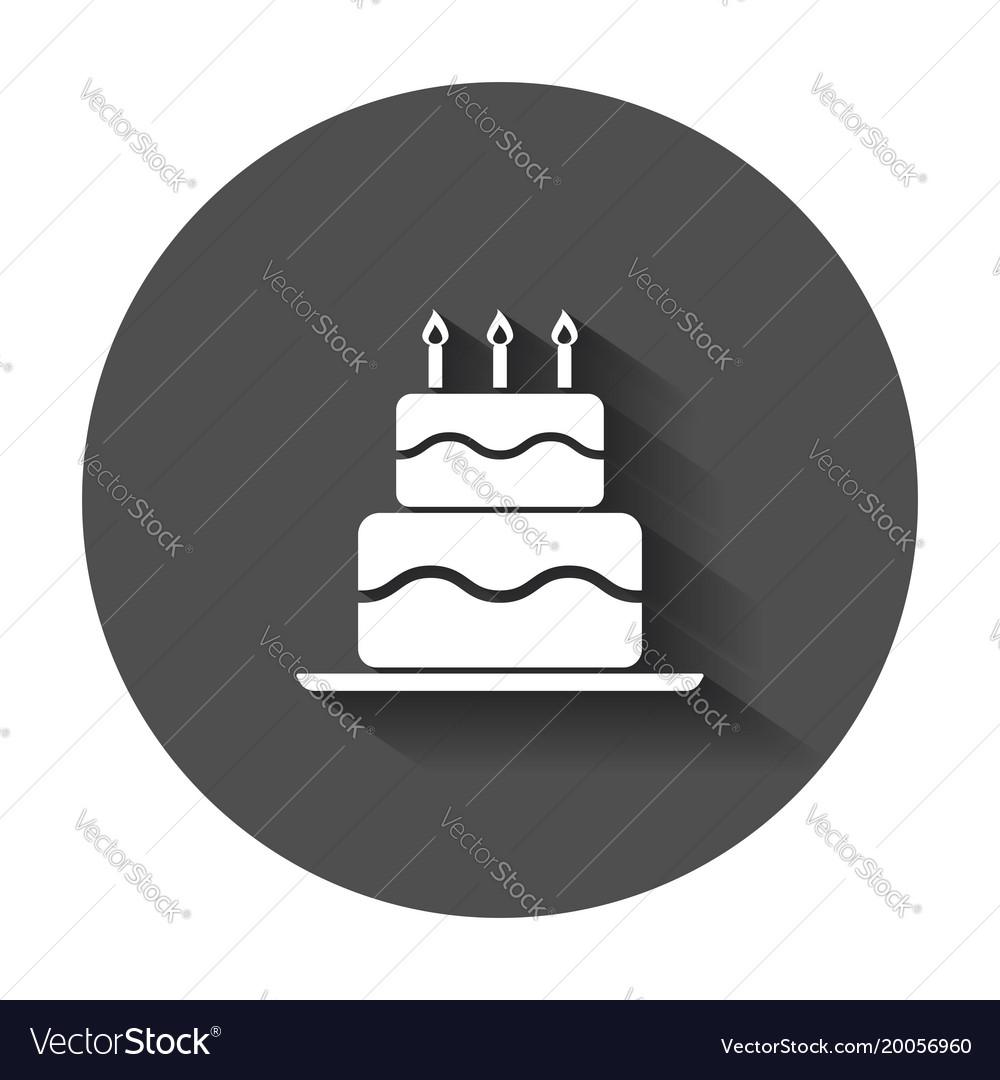 Birthday cake flat icon fresh pie muffin in flat