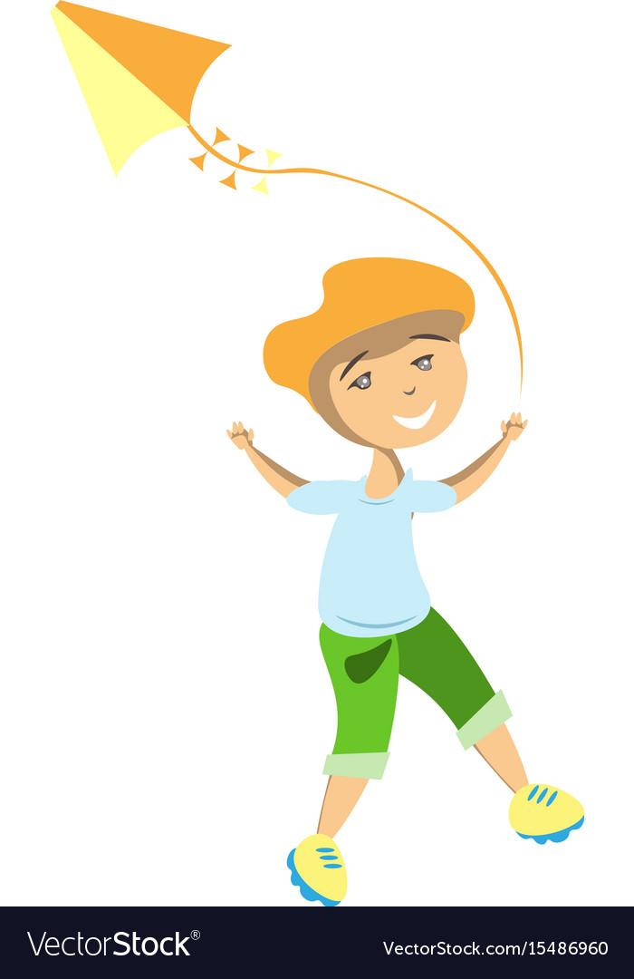Boy flying kite for vector image