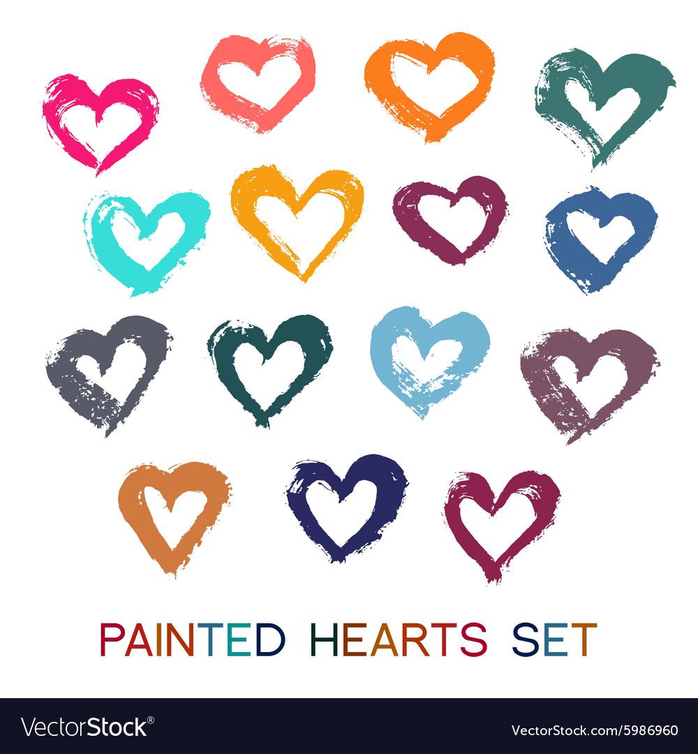 Brush Strokes Hearts Set