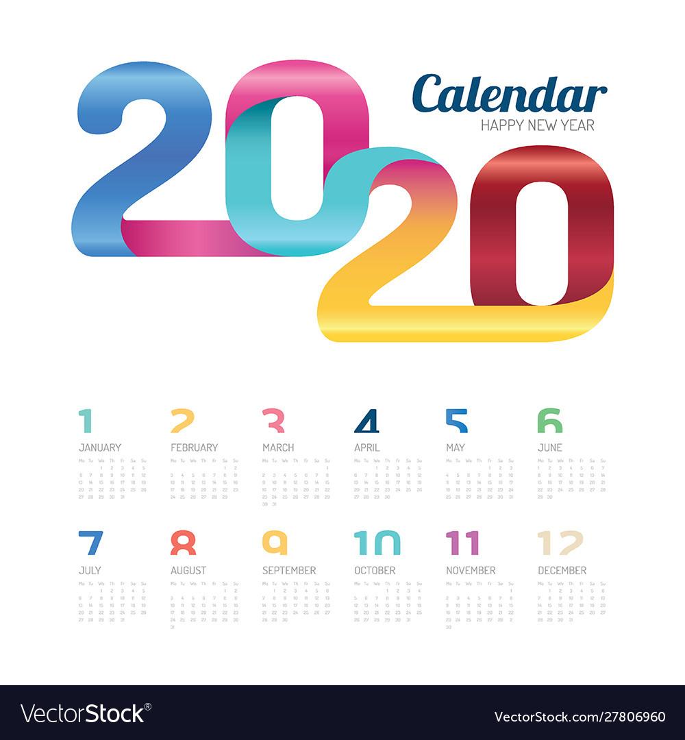 Calendar 2020 calendar 2020 colorful line