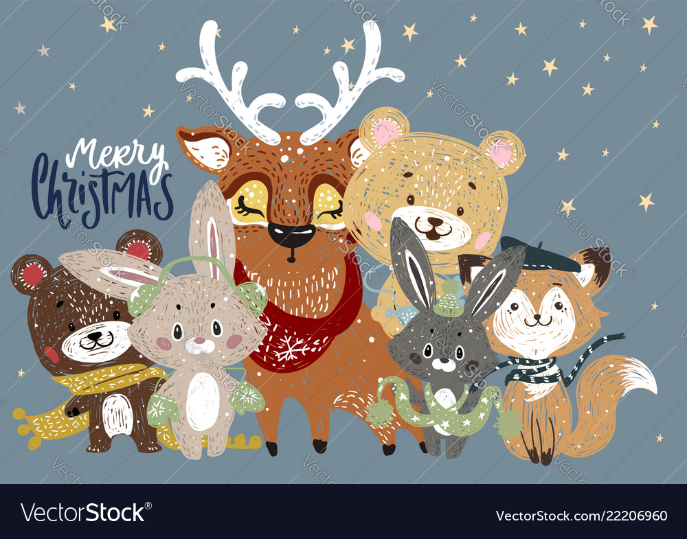 Christmas poster with forest animals