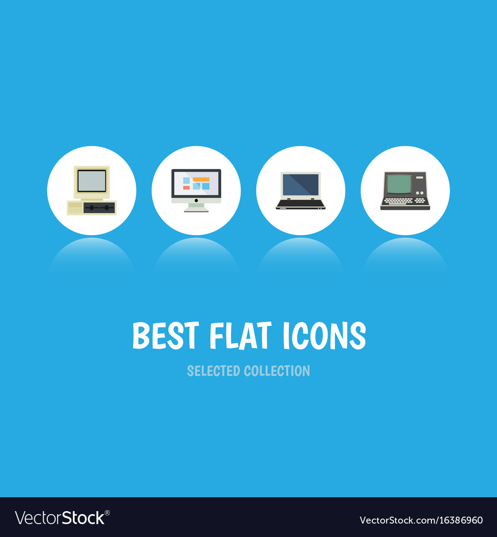 Flat icon computer set of display technology