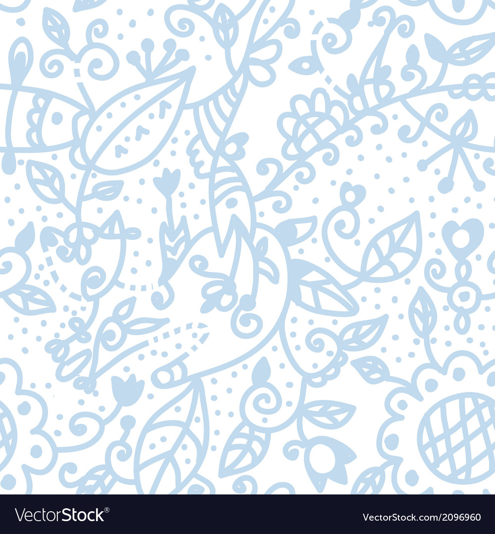 Floral graphic seamless background pastel blue