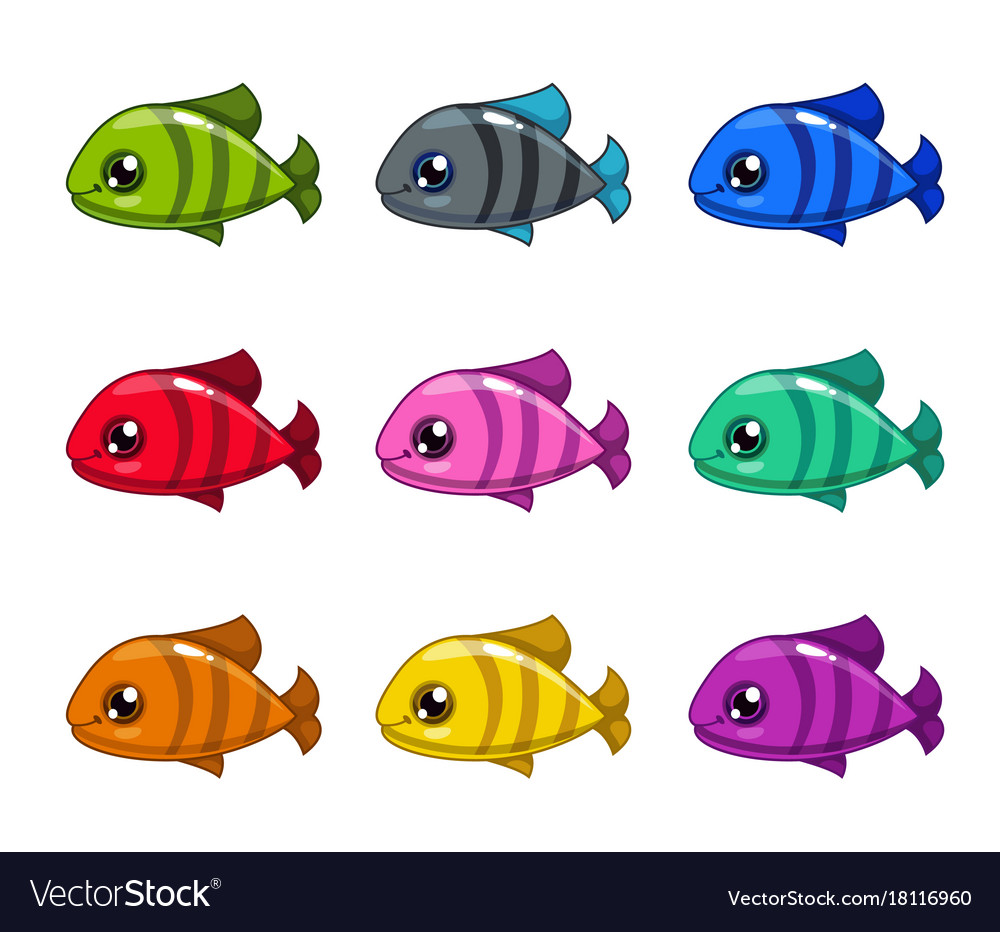 Funny cartoon colorful fishes set