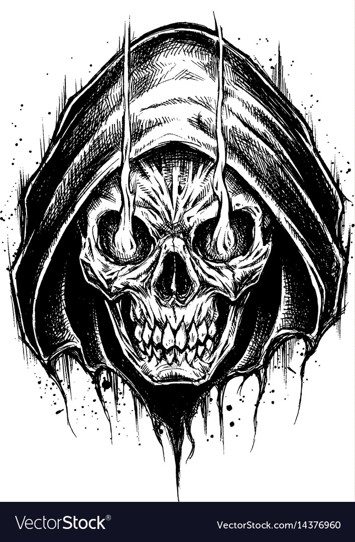 grim reaper drawing line work royalty free vector image