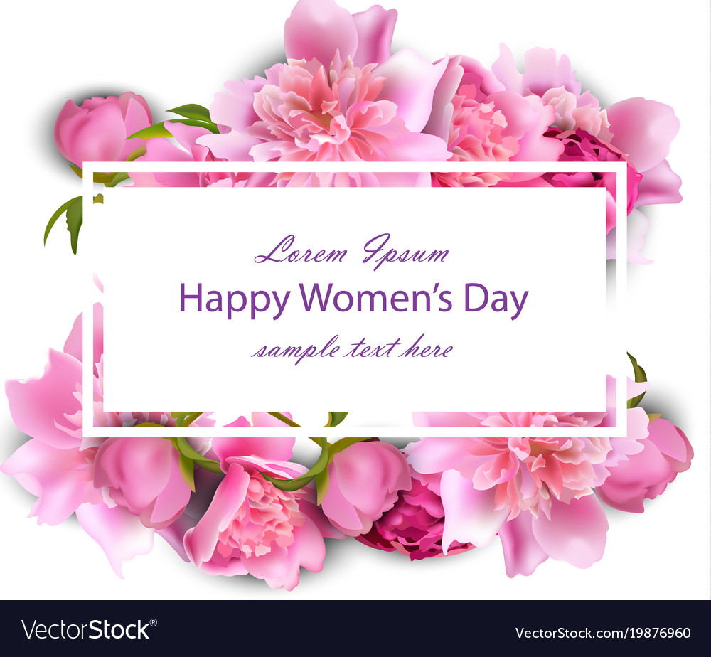 Happy Mothers Day Card With Peony Flowers Vector Image
