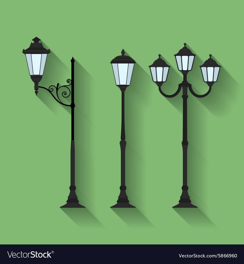 Icon set of three streetlights or lanterns Flat vector image