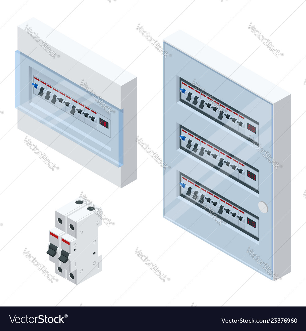 Isometric electrical panel with fuses and
