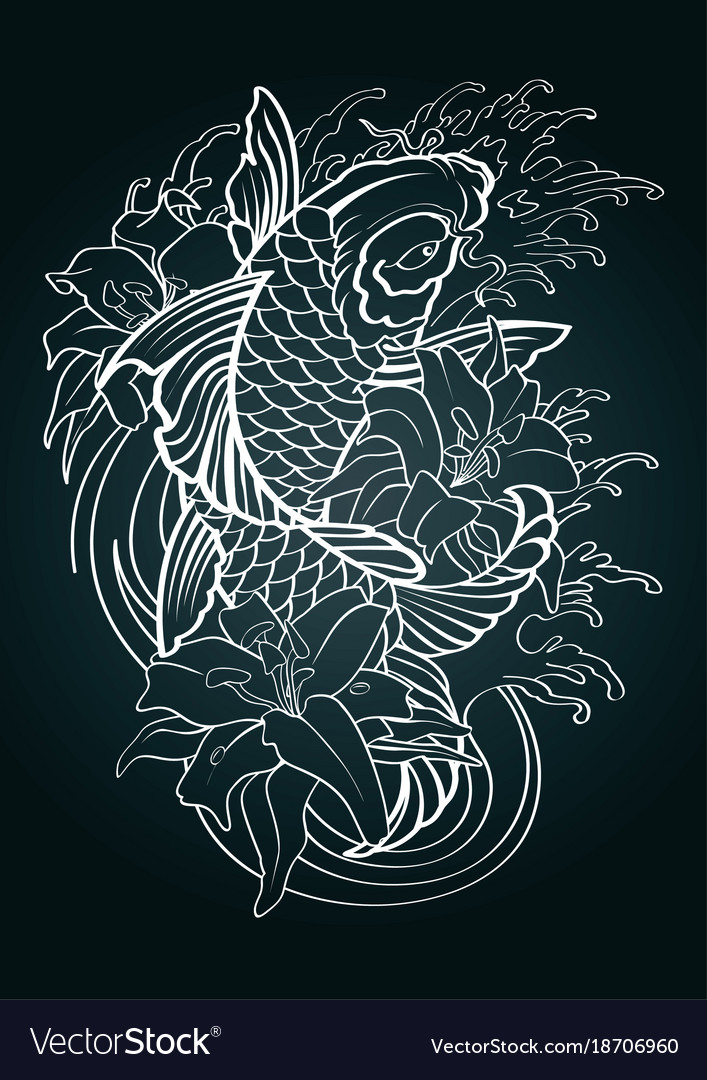 Koi Fish Tattoo Japanese Style Pattern Draw Vector Image