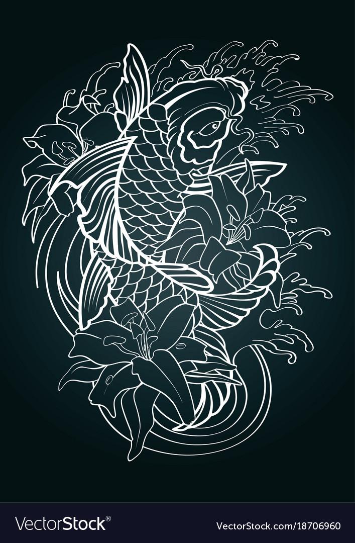 Koi Fish Tattoo Japanese Style Pattern Draw Vector Image