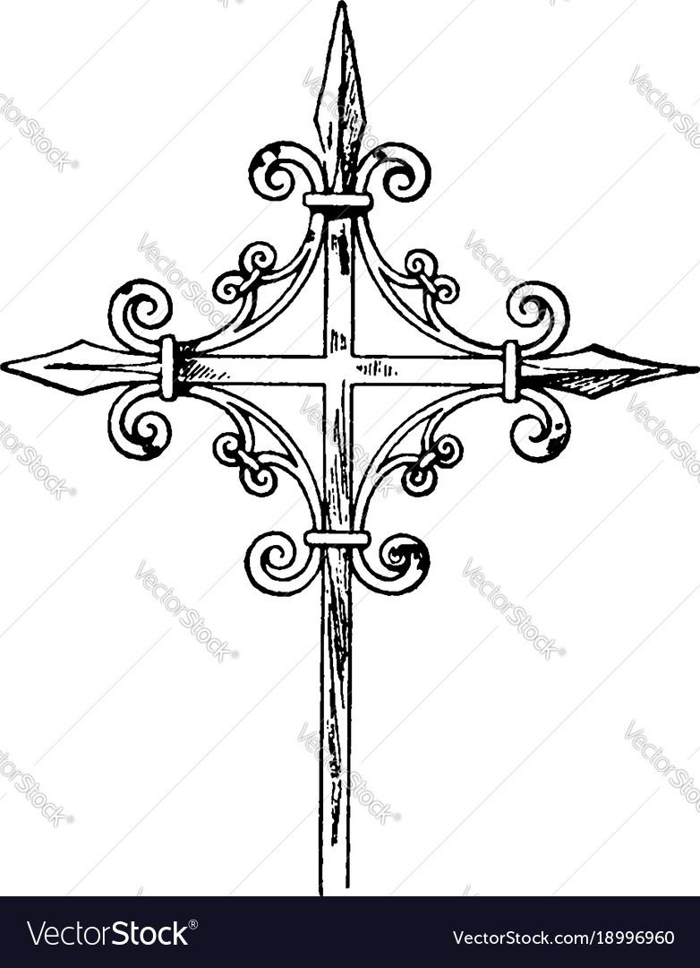 Medieval steeple cross vintage