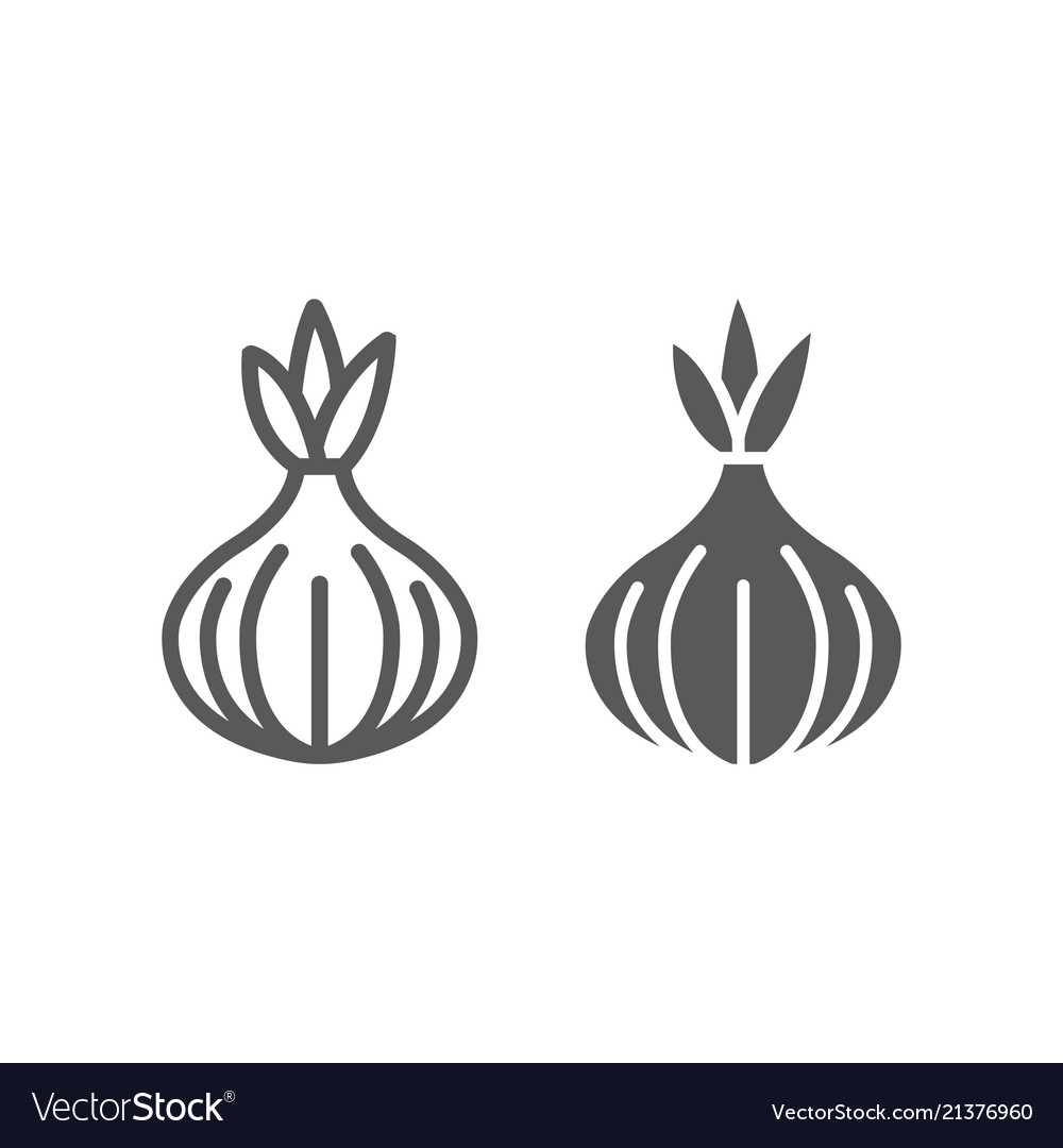 Onion line and glyph icon vegetable