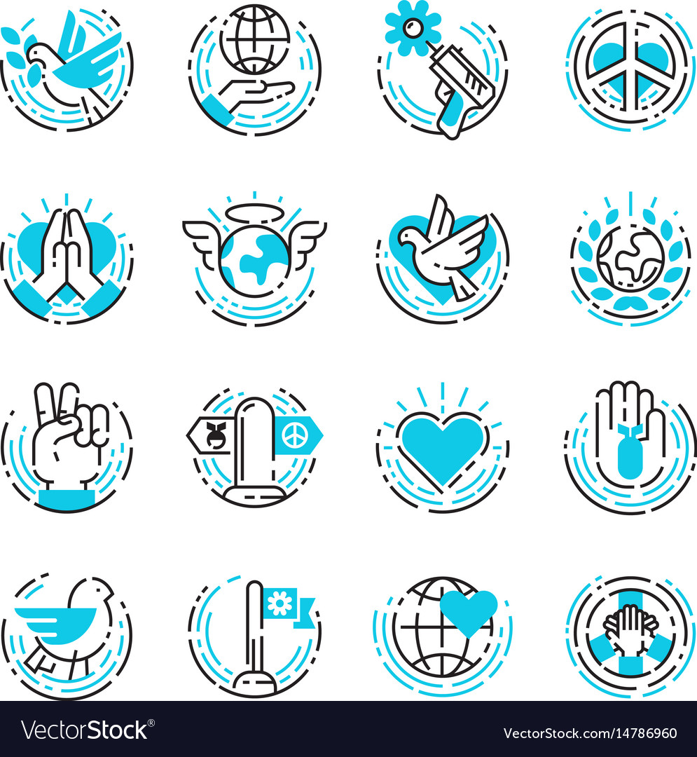 Peace outline blue icons love world freedom