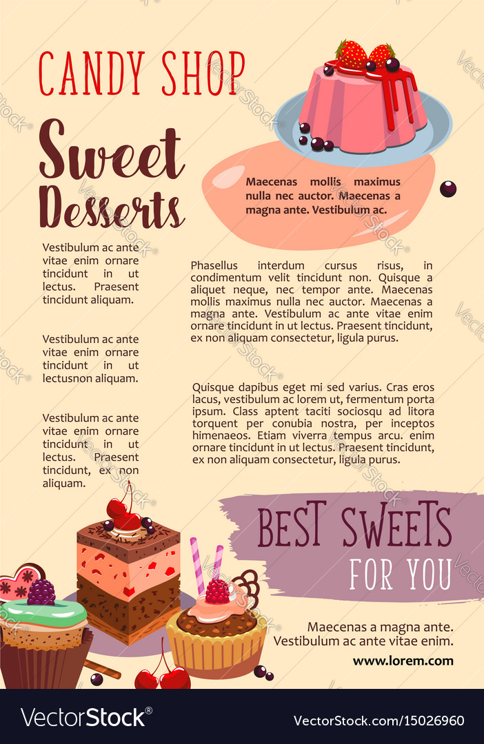 Poster for candy shop pastry desserts