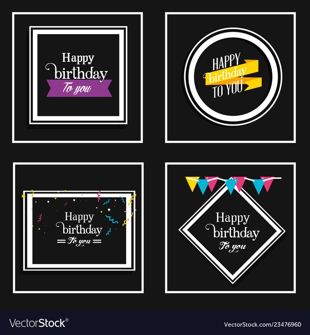 Set birthday frames with decoration