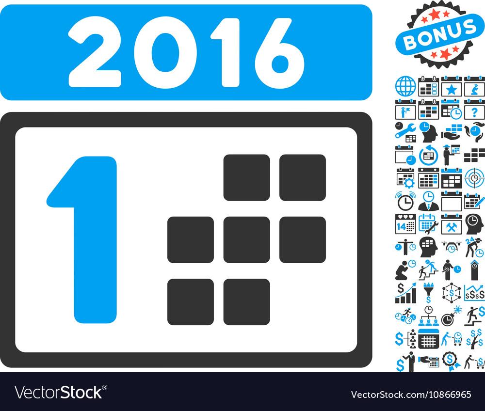 2016 Day Flat Icon With Bonus