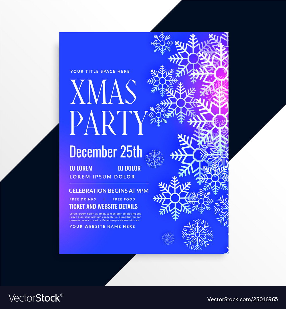 awesome blue snowflakes christmas party flyer vector image