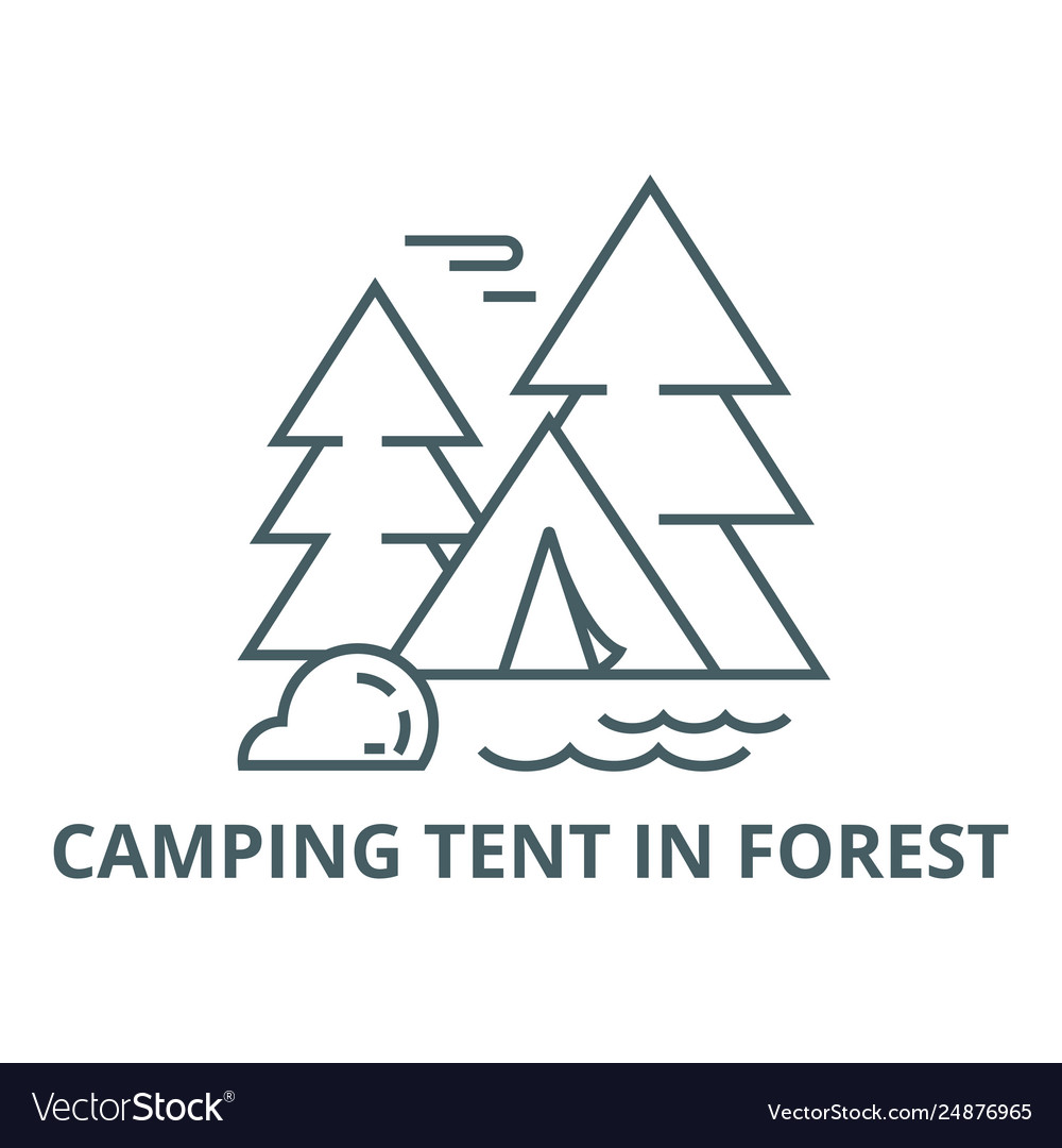 Camping tent in forest line icon camping