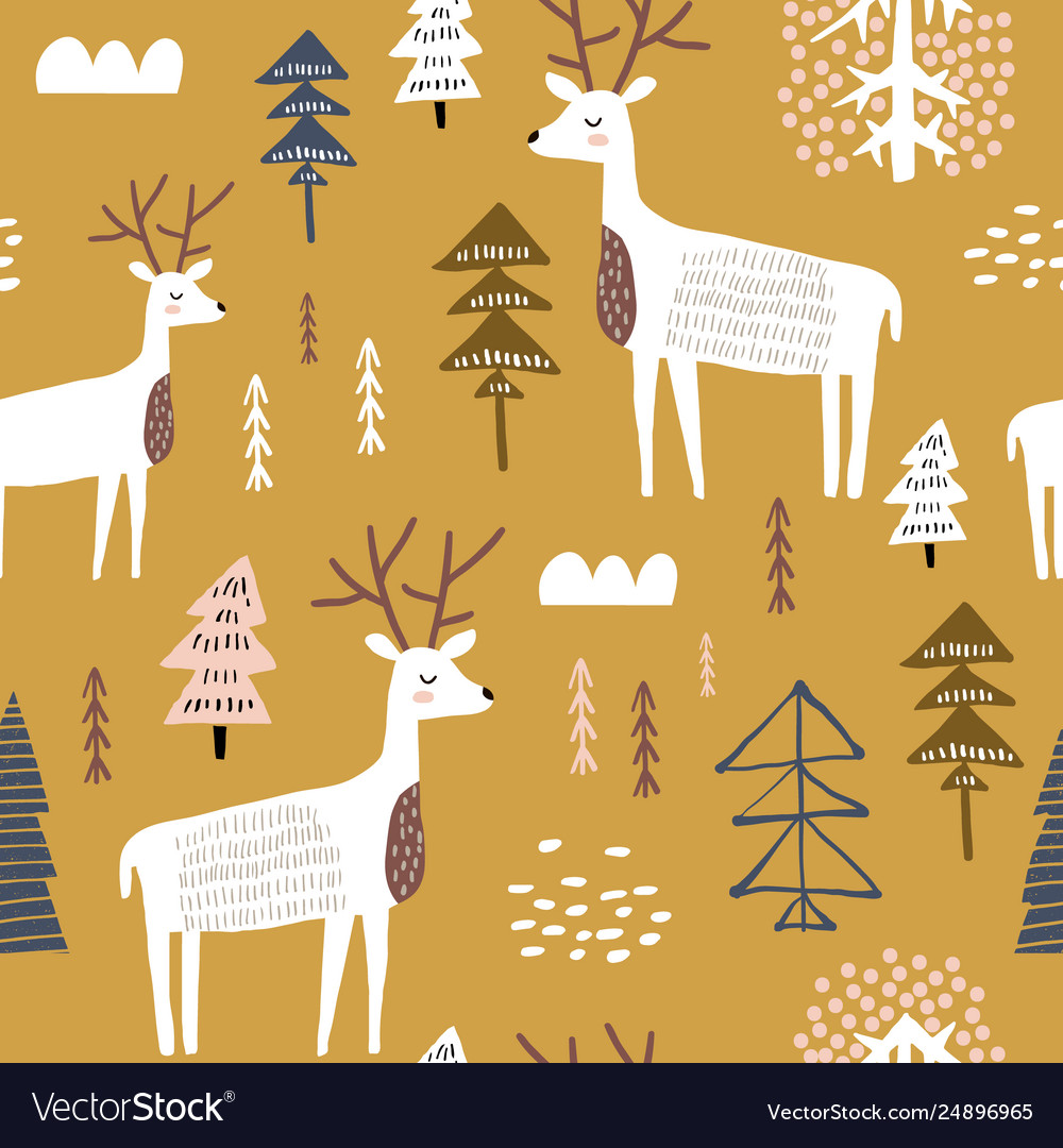 Childish seamless pattern with dears trendy